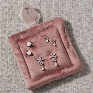 Anthropologie Set of 3 Crystal and Pearl Earrings